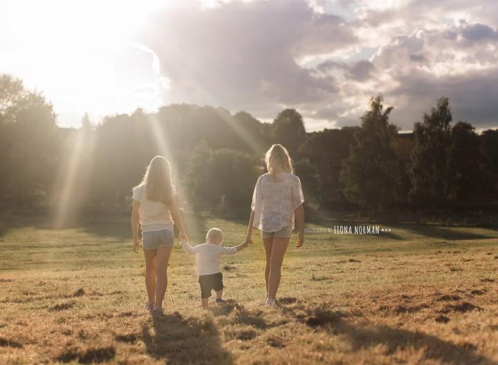 children walking off into sunset