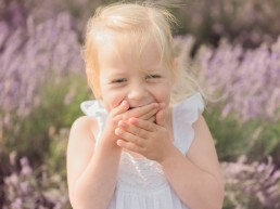 girl laughing in lavender