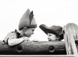 brothers dressed as pirates and Peter Pan