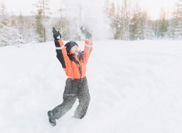 snowball fight in Lapland