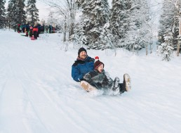 toboggan ride in Lapland