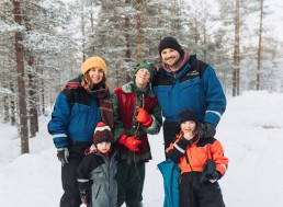Family with elf at lapland